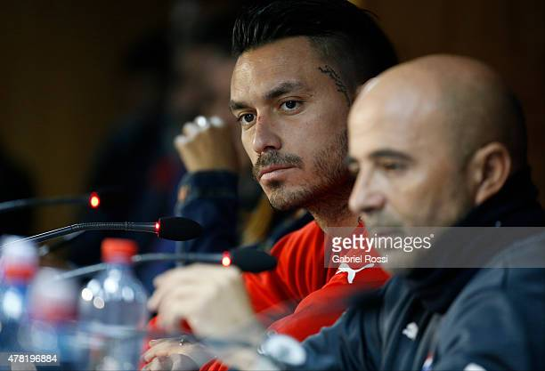 Jorge Sampaoli coach of Chile and Mauricio Pinilla of Chile look on during a press conference at Nacional Stadium on June 23 2015 in Santiago Chile...