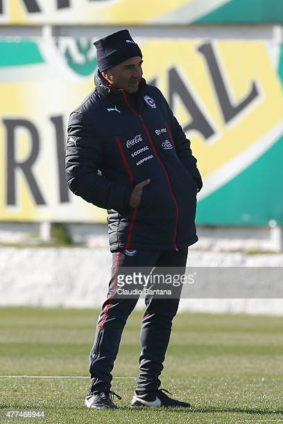 Jorge Sampaoli coach of Chile during a training session of Chile at Juan Pinto Duran on June 17 2015 in Santiago Chile