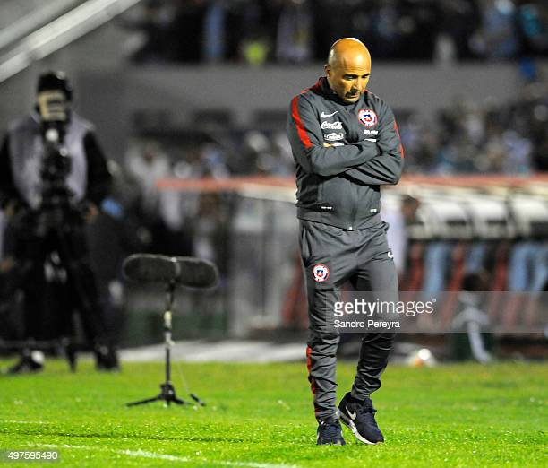 Jorge Sampaoli coach of Chile looks down during a match between Uruguay and Chile as part of FIFA 2018 World Cup Qualifiers at Centenario Stadium on...