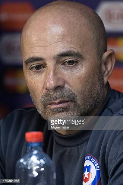 Jorge Sampaoli coach of Chile looks on during a press conference at Nacional Stadium on July 03, 2015 in Santiago, Chile. Chile will face Argentina...
