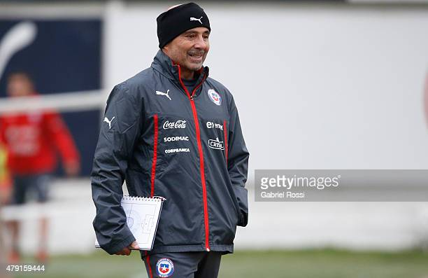 Jorge Sampaoli coach of Chile smiles during a training session at Juan Pinto Duran on July 01 2015 in Santiago Chile Chile will face Argentina in the...