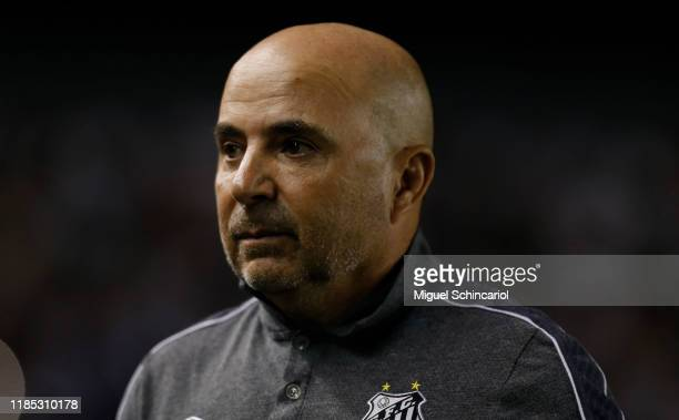 Jorge Sampaoli coach of Santos looks on before a match between Santos and Botafogo for the Brasileirao Series A 2019 at Vila Belmiro Stadium on...