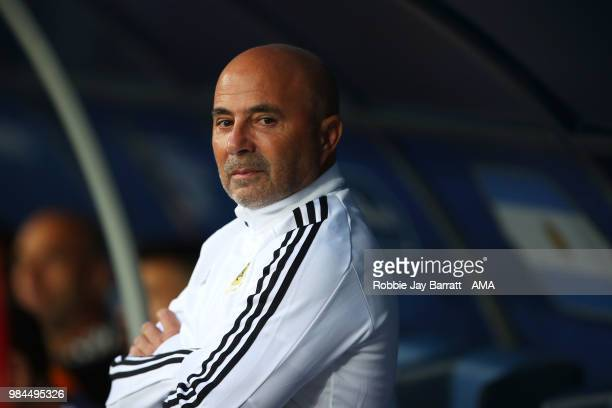 Jorge Sampaoli head coach / manager of Argentina looks on during the 2018 FIFA World Cup Russia group D match between Nigeria and Argentina at Saint...