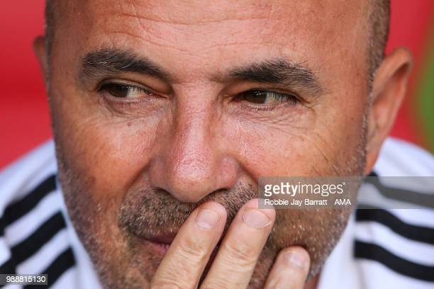 Jorge Sampaoli head coach / manager of Argentina looks on during the 2018 FIFA World Cup Russia Round of 16 match between France and Argentina at...