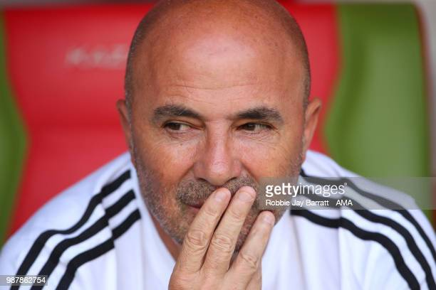 Jorge Sampaoli head coach / manager of Argentina looks on prior to the 2018 FIFA World Cup Russia Round of 16 match between France and Argentina at...
