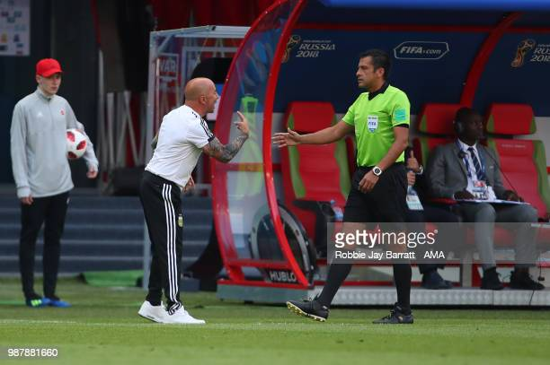 Jorge Sampaoli head coach / manager of Argentina reacts during the 2018 FIFA World Cup Russia Round of 16 match between France and Argentina at Kazan...