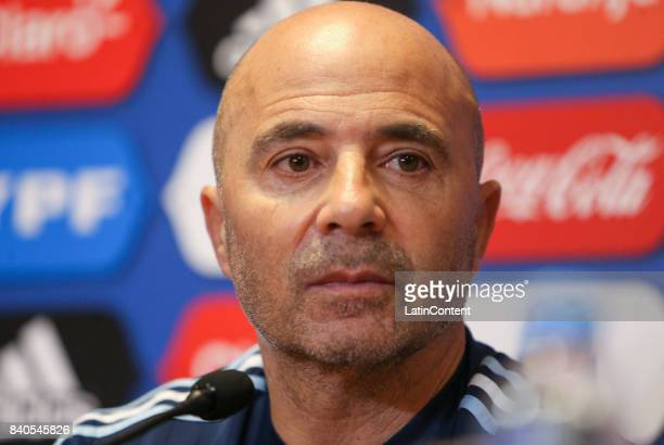 Jorge Sampaoli head coach of Argentina looks on during a press conference at 'Julio Humberto Grondona' training camp on August 29 2017 in Ezeiza...