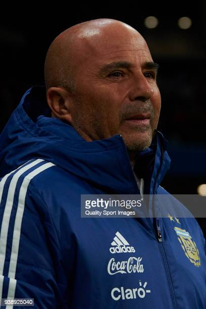 Jorge Sampaoli head coach of Argentina looks on prior to the International Friendly match between Spain and Argentina at Wanda Metropolitano Stadium...