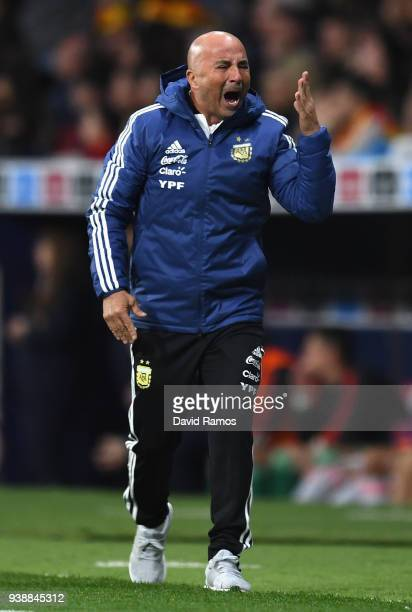 Jorge Sampaoli Head coach of Argentina reacts during the International Friendly between Spain and Argentina on March 27 2018 in Madrid Spain