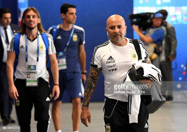 Jorge Sampaoli Head coach of of Argentina arrives at the stadium prior to the 2018 FIFA World Cup Russia Round of 16 match between France and...