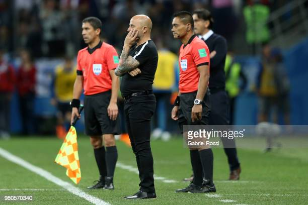 Jorge Sampaoli Head coach of of Argentina looks dejected during the 2018 FIFA World Cup Russia group D match between Argentina and Croatia at Nizhny...