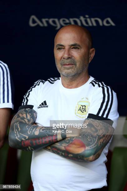 Jorge Sampaoli Head coach of of Argentina looks on ahead of the 2018 FIFA World Cup Russia Round of 16 match between France and Argentina at Kazan...