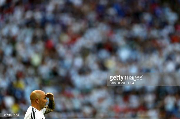 Jorge Sampaoli Head coach of of Argentina looks on during the 2018 FIFA World Cup Russia Round of 16 match between France and Argentina at Kazan...