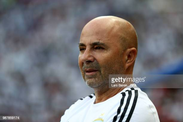 Jorge Sampaoli Head coach of of Argentina looks on prior to the 2018 FIFA World Cup Russia Round of 16 match between France and Argentina at Kazan...