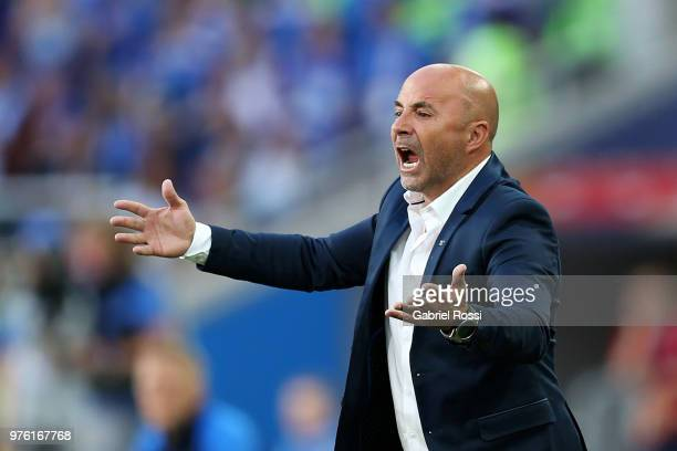 Jorge Sampaoli Head coach of of Argentina reacts during the 2018 FIFA World Cup Russia group D match between Argentina and Iceland at Spartak Stadium...