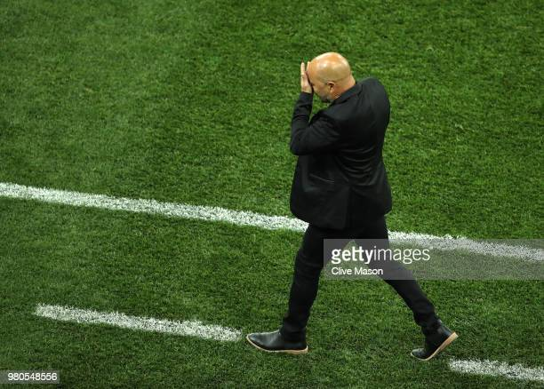 Jorge Sampaoli, Head coach of of Argentina reacts during the 2018 FIFA World Cup Russia group D match between Argentina and Croatia at Nizhny...