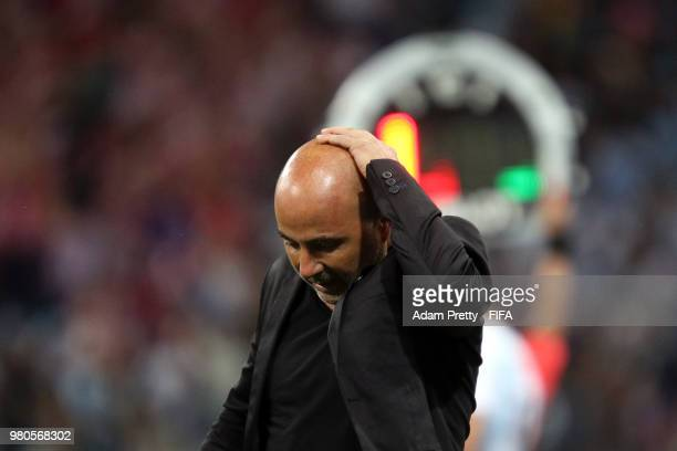 Jorge Sampaoli Head coach of of Argentina reacts following the 2018 FIFA World Cup Russia group D match between Argentina and Croatia at Nizhny...