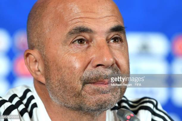 Jorge Sampaoli Head coach of of Argentina speaks during a press conference after the 2018 FIFA World Cup Russia Round of 16 match between France and...