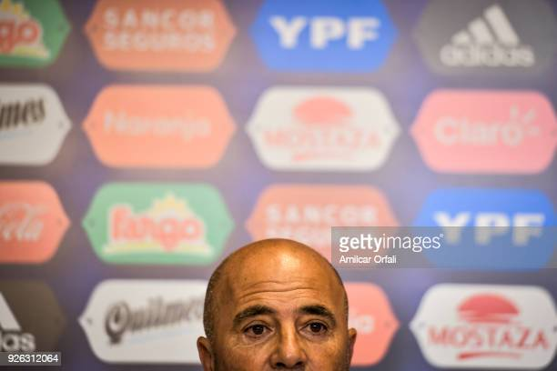 Jorge Sampaoli looks on during a press conference at 'Julio Humberto Grondona' training camp on March 01 2018 in Ezeiza Argentina
