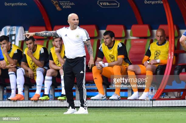 Jorge Sampaoli Manager of Argentina during the 2018 FIFA World Cup Russia Round of 16 match between France and Argentina at Kazan Arena on June 30...