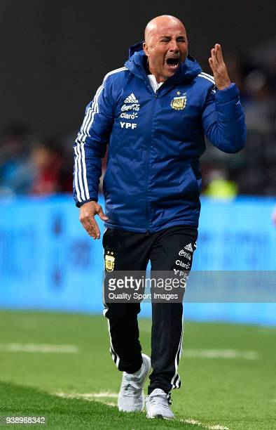 Jorge Sampaoli Manager of Argentina reacts during the international friendly match between Spain and Argentina at Wanda Metropolitano stadium on...