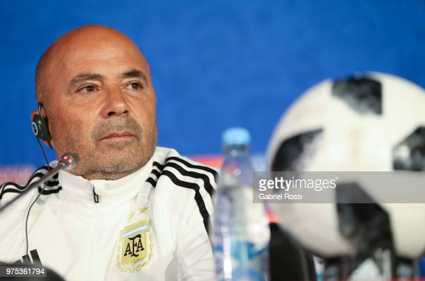 Jorge Sampaoli of Argentina looks on during a press conference at Spartak Stadium on June 15, 2018 in Bronnitsy, Russia.