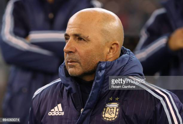 Jorge Sampaoli of Argentina looks on during the Brazil Global Tour match between Brazil and Argentina at Melbourne Cricket Ground on June 9 2017 in...