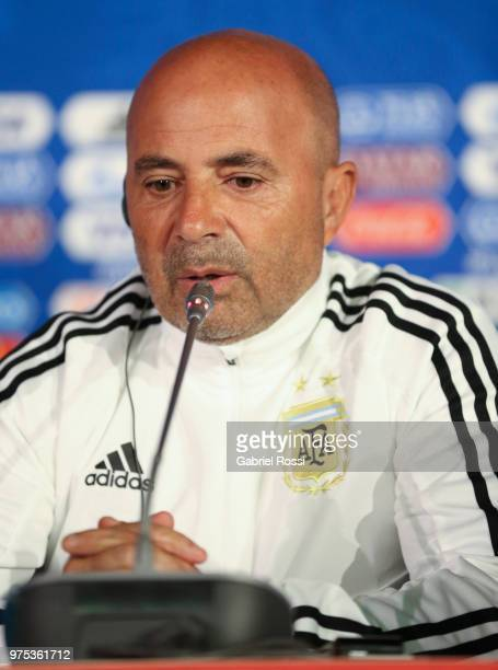 Jorge Sampaoli of Argentina speaks during a press conference at Spartak Stadium on June 15, 2018 in Bronnitsy, Russia.