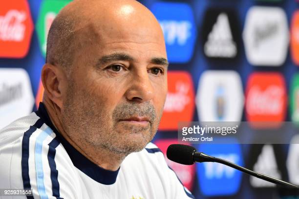 Jorge Sampaoli speaks during a press conference at 'Julio Humberto Grondona' training camp on March 01 2018 in Ezeiza Argentina