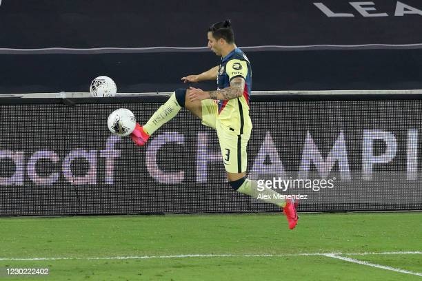 Jorge Sanchez of Club America saves the ball from going out of bounds during the CONCACAF Champions League semifinal game against the Los Angeles FC...