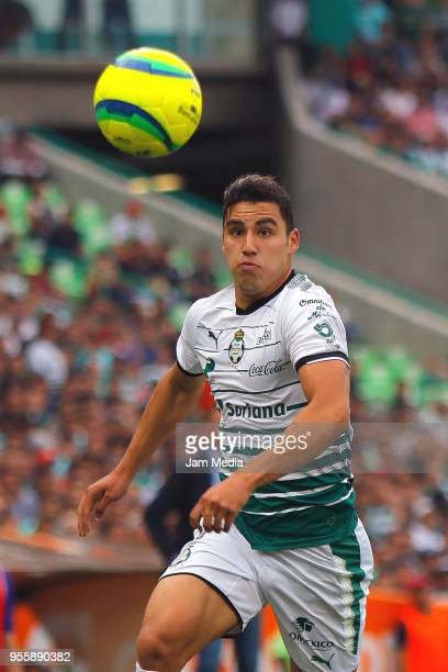 Jorge Sanchez of Santos watches the ball during the quarter finals second leg match between Santos Laguna and Tigres UANL as part of the Torneo...