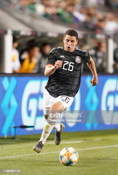 Jorge Sanchez of the Mexico National team dribbles up field against Paraguay during the second half of their soccer game at Levi's Stadium on March...