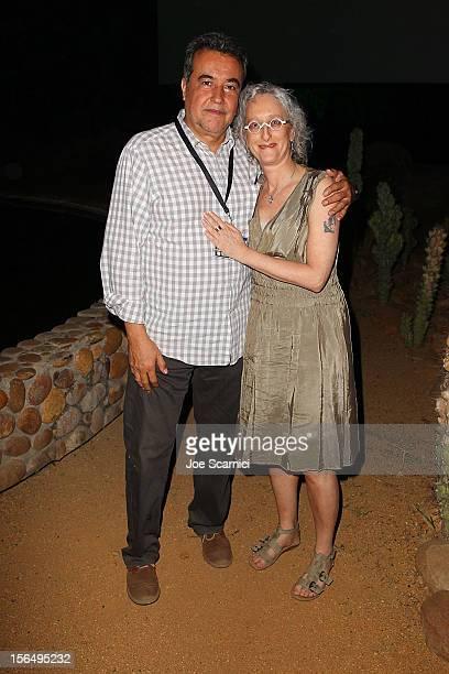 Jorge Sanchez Sosa and Lynn Hershmann attend the filmmaker reception at the Wirikuta Cactus Garden at the Esperanza Resort on November 15 2012 in...