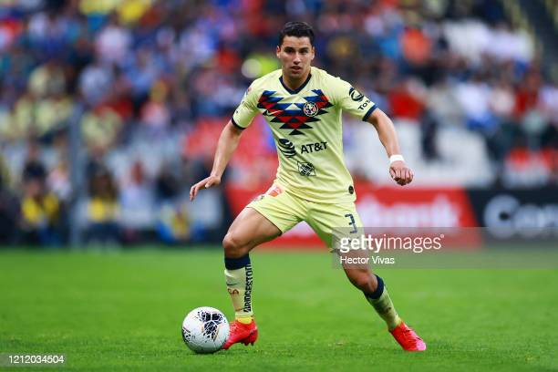 Jorge Sánchez of America drives the ball during a quarter final first leg match between Club America and Atlanta United as part of CONCACAF Champions...