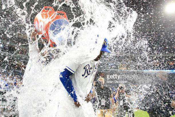 Jorge Soler after the Kansas City Royals gets water dumped on him by teammate Salvador Perez after defeating the Detroit Tigers at Kauffman Stadium...