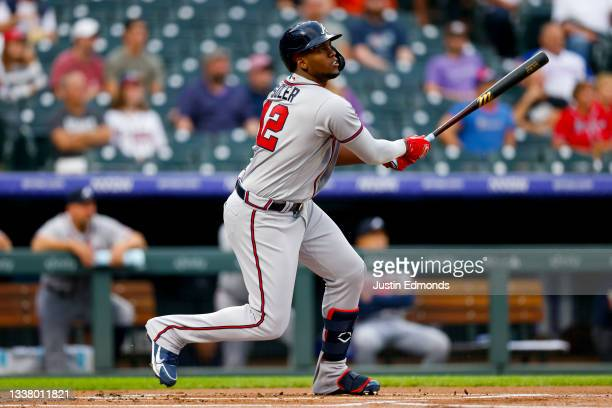 Jorge Soler of the Atlanta Braves hits a home run during the first inning against the Colorado Rockies at Coors Field on September 2, 2021 in Denver,...