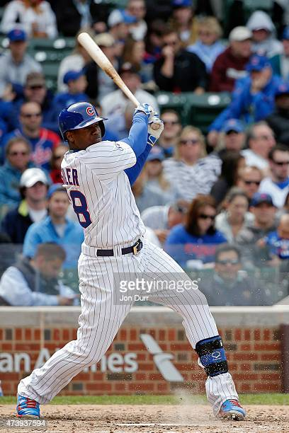 Jorge Soler of the Chicago Cubs at bat against the New York Mets during the fifth inning on May 14 2015 at Wrigley Field in Chicago Illinois