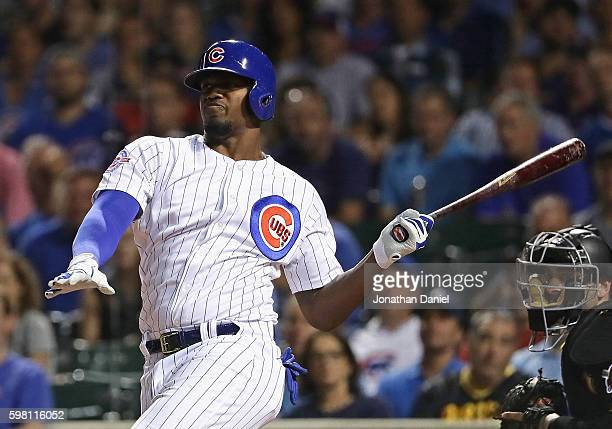 Jorge Soler of the Chicago Cubs bats against the Pittsburgh Pirates at Wrigley Field on August 30 2016 in Chicago Illinois The Cubs defeated the...