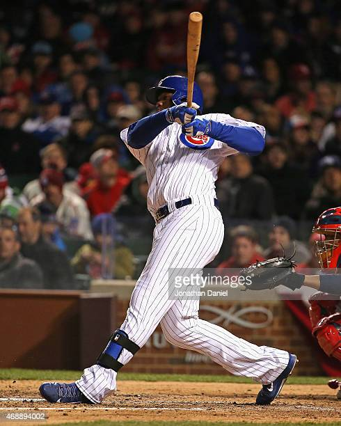 Jorge Soler of the Chicago Cubs bats against the St Louis Cardinals during the Opening Night game at Wrigley Field on April 5 2015 in Chicago...