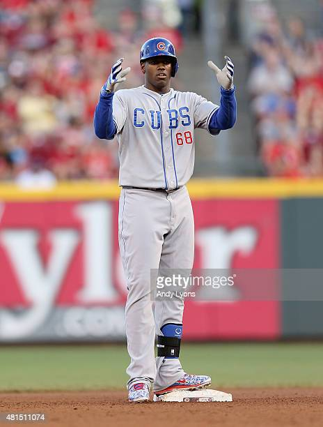 Jorge Soler of the Chicago Cubs celebrates after hitting a double in the fourth inning against the Cincinnati Reds at Great American Ball Park on...