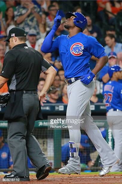 Jorge Soler of the Chicago Cubs gestures crossing the plate after his home run on a line drive to left center field against the Houston Astros in the...