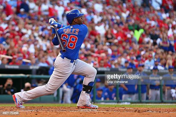 Jorge Soler of the Chicago Cubs hits a tworun home run in the second inning against the St Louis Cardinals during game two of the National League...