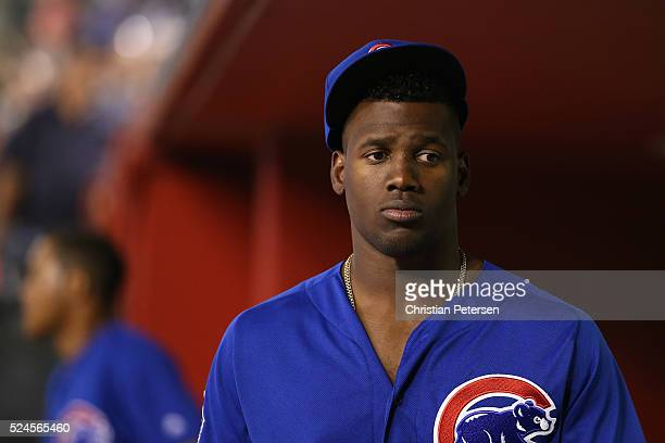 Jorge Soler of the Chicago Cubs in the dugout during the MLB game against the Arizona Diamondbacks at Chase Field on April 7 2016 in Phoenix Arizona