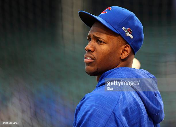 Jorge Soler of the Chicago Cubs looks on during batting practice prior to game four of the 2015 MLB National League Championship Series against the...