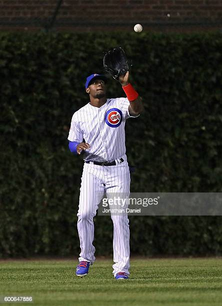 Jorge Soler of the Chicago Cubs makes a catch against the Pittsburgh Pirates at Wrigley Field on August 31 2016 in Chicago Illinois