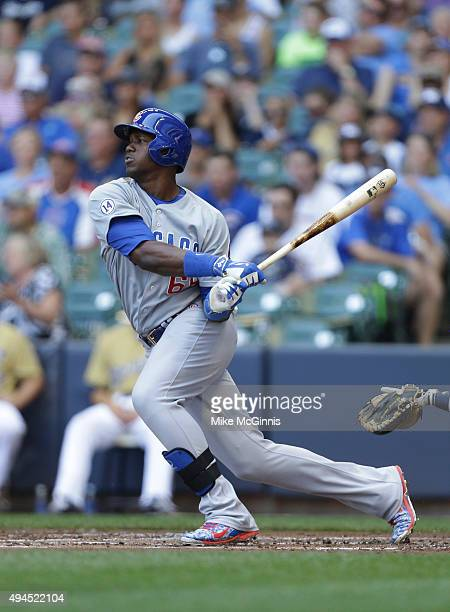Jorge Soler of the Chicago Cubs makes some contact at the plate during the game against the Milwaukee Brewers at Miller Park on August 02 2015 in...