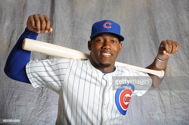Jorge Soler of the Chicago Cubs poses for a portrait during Photo Day on March 2 2015 at Sloan Park in Mesa Arizona