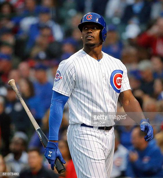 Jorge Soler of the Chicago Cubs reacts after striking out against the San Diego Padres during the third inning during game two of a double header at...