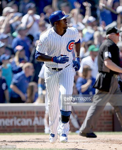 Jorge Soler of the Chicago Cubs rounds the bases after hitting a home run in the fourth inning against the Colorado Rockies at Wrigley Field on April...