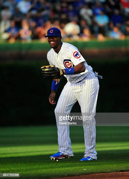 Jorge Soler of the Chicago Cubs warms up before the game against the Atlanta Braves on August 20 2015 at Wrigley Field in Chicago Illinois The Cubs...